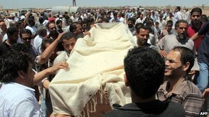 Funeral ceremony for one of the demonstrators in Benghazi on 9 June