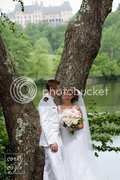 Bride and Groom at Biltmore Estate Lake
