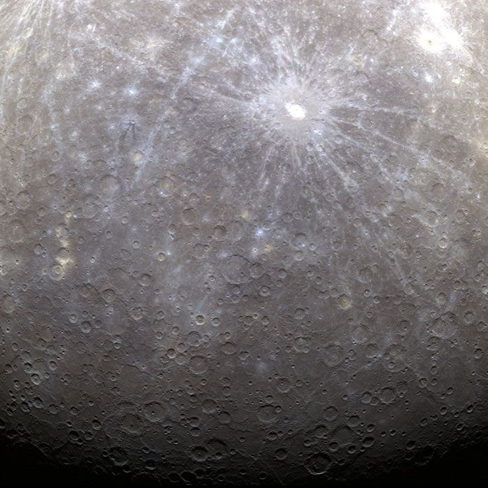 A false-color image of Mercury that was taken from orbit by NASA's MESSENGER spacecraft, on March 29, 2011.
