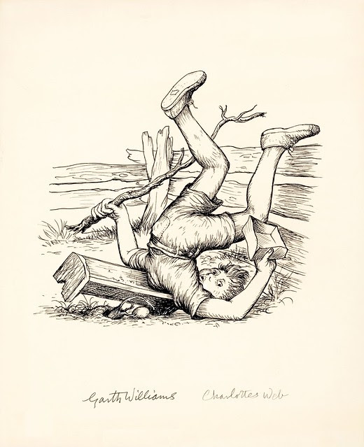 pen drawing of boy fallen onto shoulders/neck from wooden fence