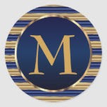 Rich Dark Blue & Gold Monogram Envelope Seal Classic Round Sticker