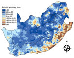Thumbnail of Mean seasonal rainfall anomalies for 4 consecutive seasons (November–March) in South Africa, 2007–2011. The anomalies were computed as deviations from the seasonal long-term mean for 1985–2011.