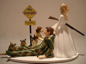 Camo Hunting Bride Groom Wedding Cake Topper Coon Dog Gun