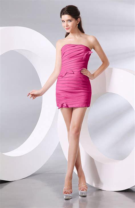Hot Pink Plain Column Strapless Chiffon Short Ruching Prom