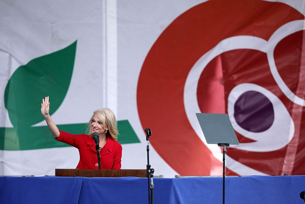 WASHINGTON, DC - JANUARY 27: Kellyanne Conway, counselor to President Donald Trump, addresses a rally on the National Mall before the start of the 44th annual March for Life January 27, 2017 in Washington, DC. The march is a gathering and protest against the United States Supreme Court's 1973 Roe v. Wade decision legalizing abortion. (Photo by Chip Somodevilla/Getty Images)