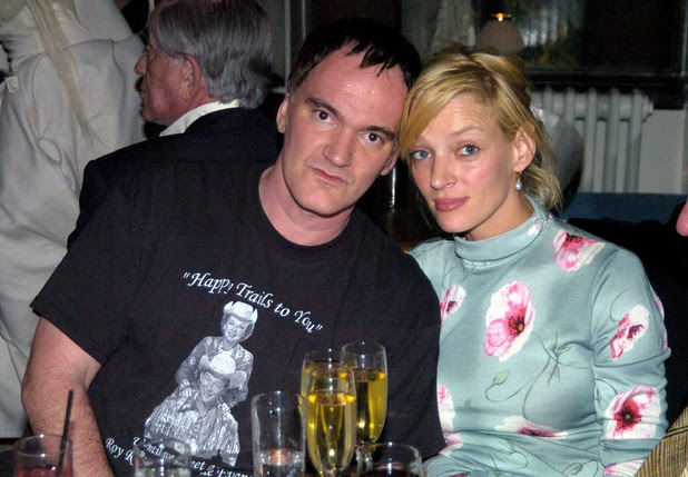 Quentin Tarantino and Uma Thurman during HBO Films Pre Golden Globes Party Inside Coverage at Chateau Marmont in Los Angeles, California, United States. (Photo by Jeff Kravitz/FilmMagic, Inc)