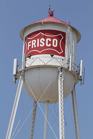The old water tower in downtown Frisco, Tx, USA.