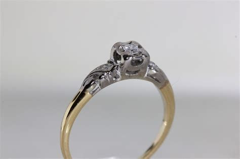 ANTIQUE 1940's VINTAGE ENGAGEMENT RING 14k WHITE & YELLOW