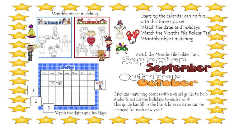Learning the calendar can be fun with this three task set.  *Match the dates and holidays *Match the Months File Folder Task *Monthly object matching  Calendar matching comes with a visual guide to help students match the holidays to each month.This guide has fill in the blank lines so dates can be changed for each new year!  (This calendar set is based off US Holidays)