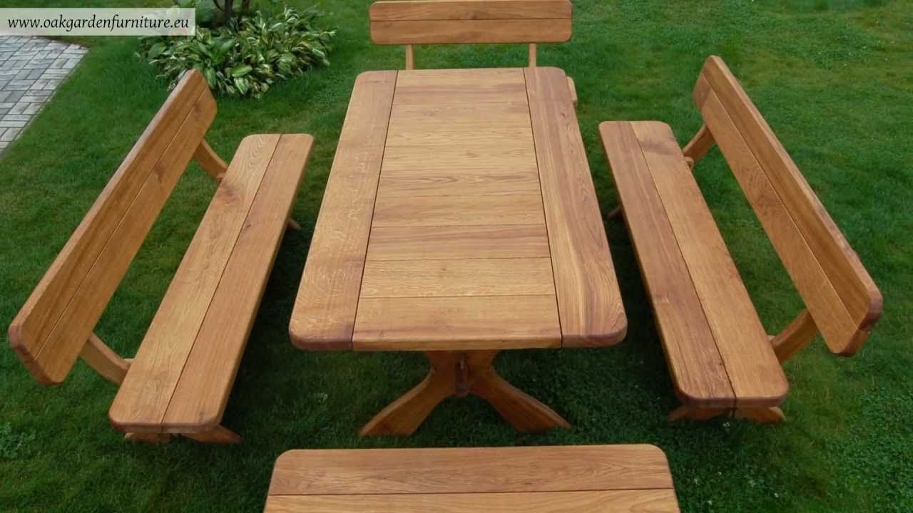 Wooden garden furniture set - YouTube