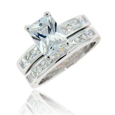 emerald cut cubic zirconia silver wedding ring set sz ebay