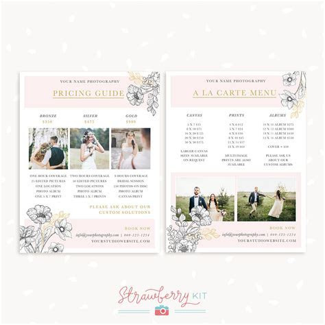 Floral Wedding Price List Template   Strawberry Kit