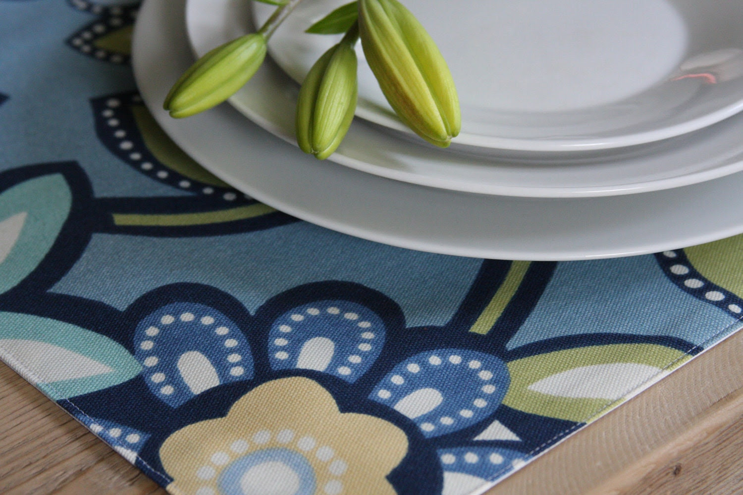 Blue Big Floral - Set of 4 Placemats