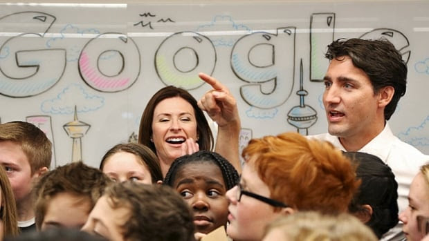 Justin Trudeau speaks with a group of junior codemakers during the unveiling of Google's new Canadian engineering headquarters in Kitchener-Waterloo last month. But what will he do for Alberta's oil workers?