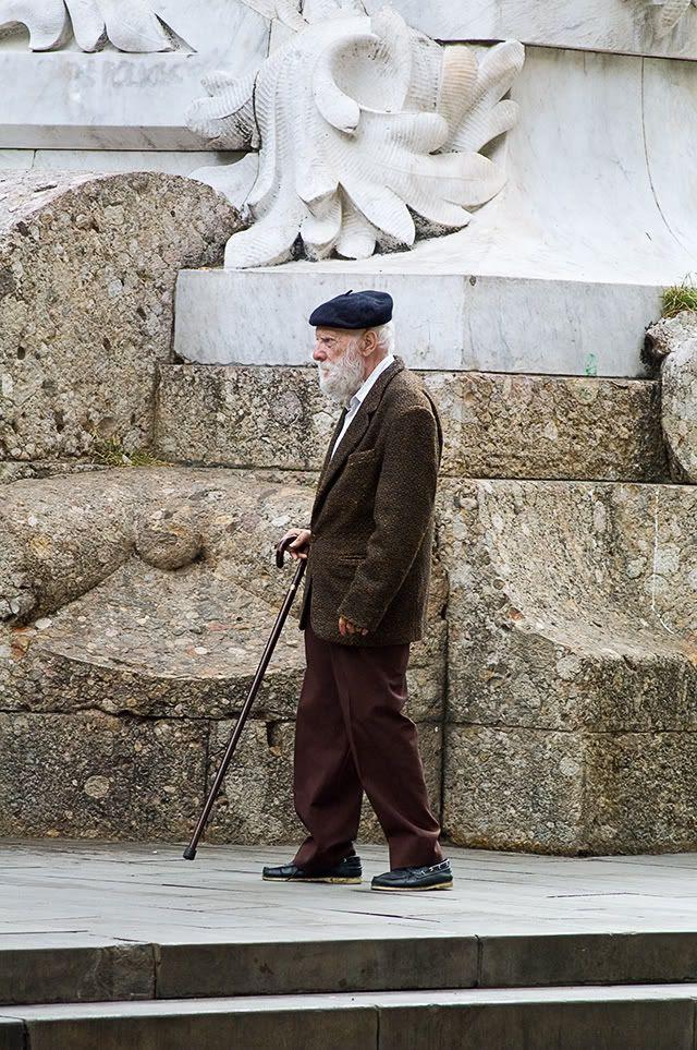 Old Man With Walking Stick [enlarge]