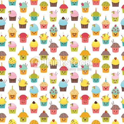 Patrón Sin Fisuras Con Los Cupcakes Y Magdalenas Kawaii Cupcakes