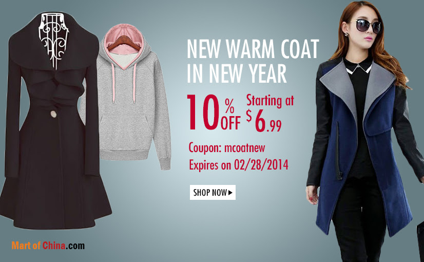 10% Off Coats at Martofchina.com 826*510