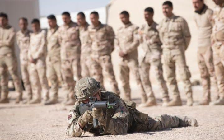 Some 250 British soldiers from 4 Rifles are training the Iraqi army at Camp Al Asad