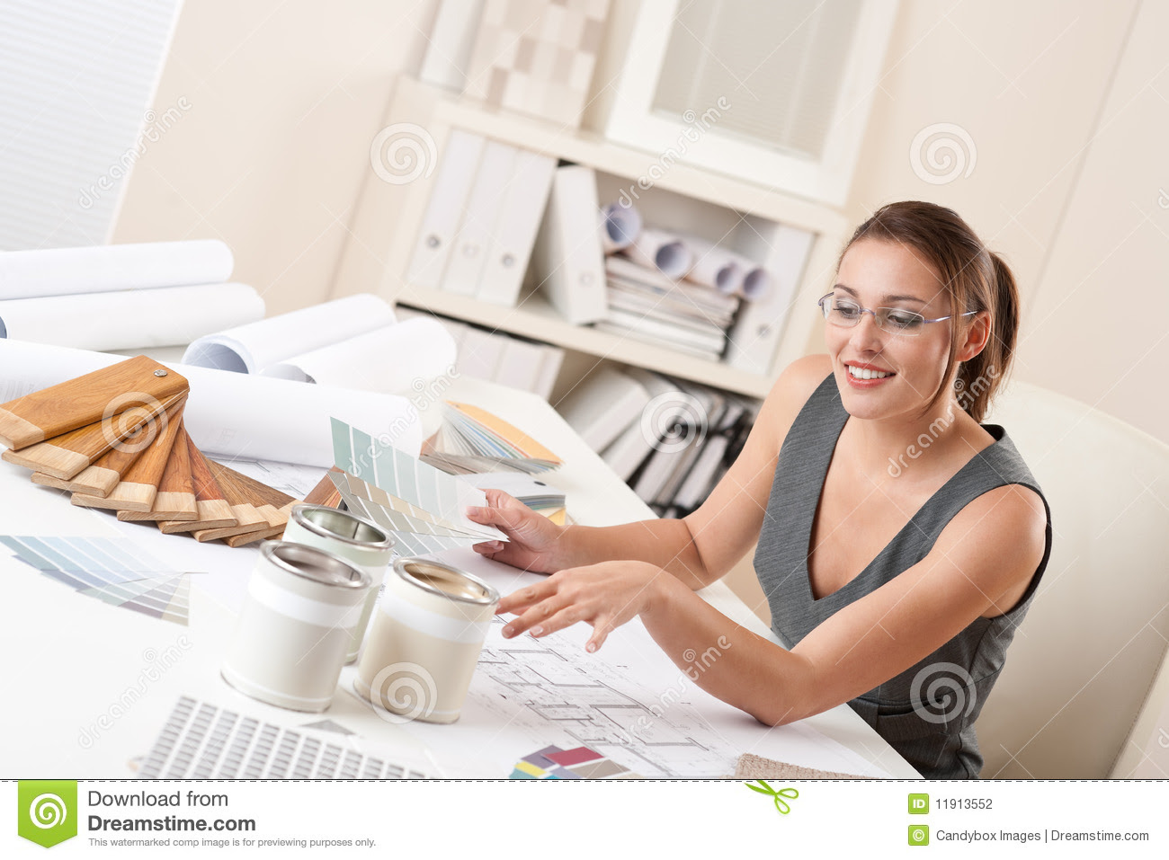 Successful Interior Designer Woman At Office Stock Photography