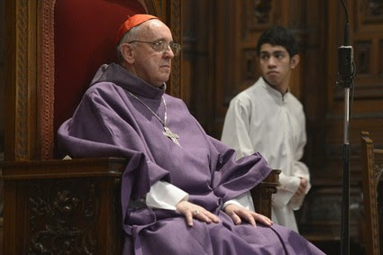 Jorge Bergoglio attends a mass for Ash Wednesday, Feb. 13, 2013, in Buenos Aires, Argentina.