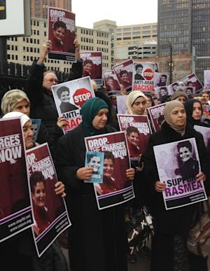 Supporters of Rasmieh Odeh stand outside federal court …