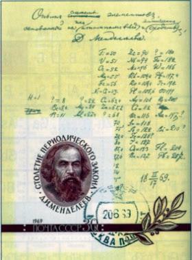 timbre commemoratif sovietique de 1969 en l'honneur de Dmitri Mendeleev