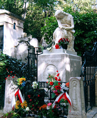 The Grave of Chopin at Pere Lachaise Cemetery Paris France - Click for Larger Image and Galleries - Photo by John Brody Photography - Historcal summary by John Brody