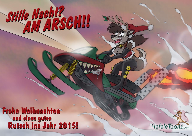 Eine Kleine Comic Weihnachtskarte Frohes Fest Und Guten Rutsch