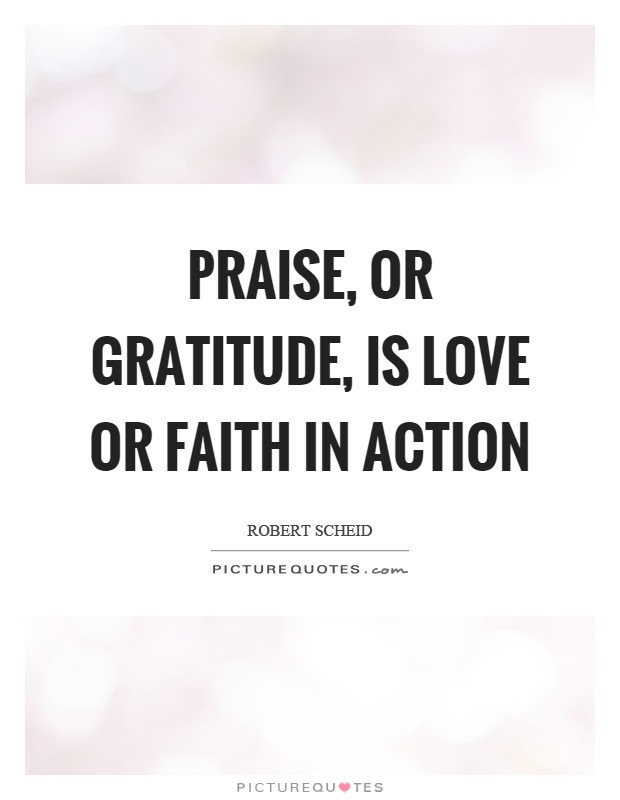 Praise Or Gratitude Is Love Or Faith In Action Picture Quotes