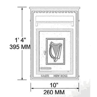 Irish Cast Iron Mail Box Green with Gold Harp at IrishShop