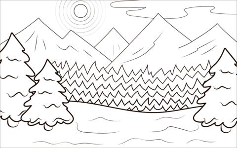 Dibujo De Bosque De Invierno Para Colorear Dibujos Para Colorear