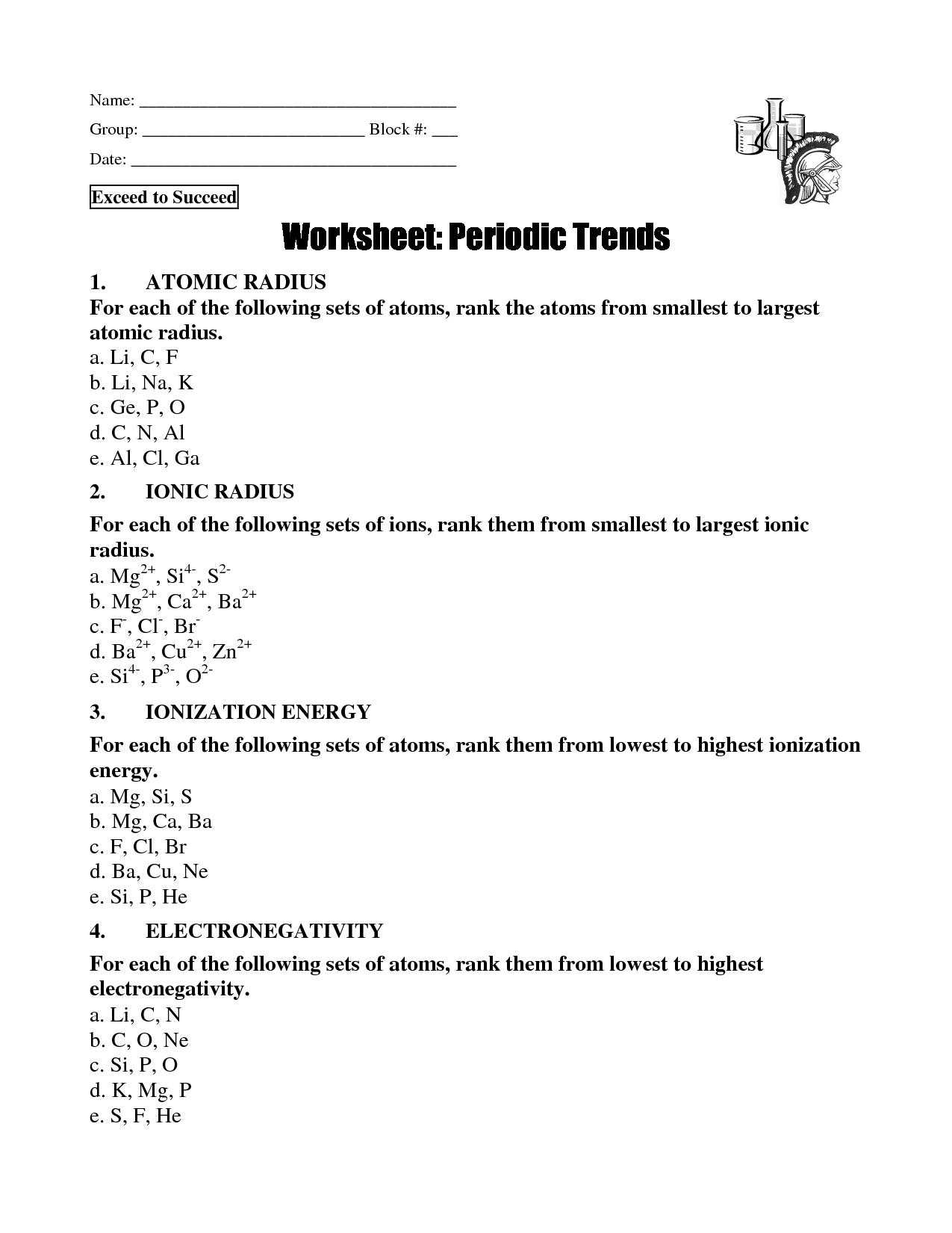 48 PERIODIC TABLE TRENDS WORKSHEET PDF, WORKSHEET PERIODIC TABLE ...