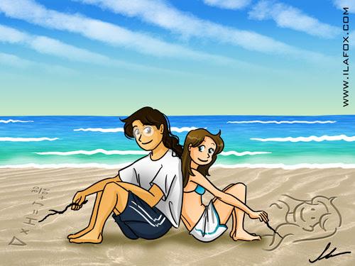 Ricbit escrevendo contas e eu desenhando na areia, férias nerd, ilustração by ila fox