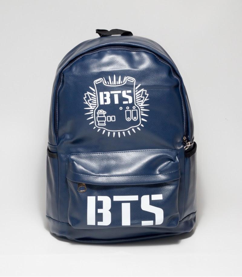 Buy BTS Dark Blue Color Rexine Backpack in Bangladesh