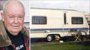 Williams Roberts and the caravan that was stolen with him still inside it