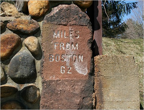 An old marker on the Boston Post Road.