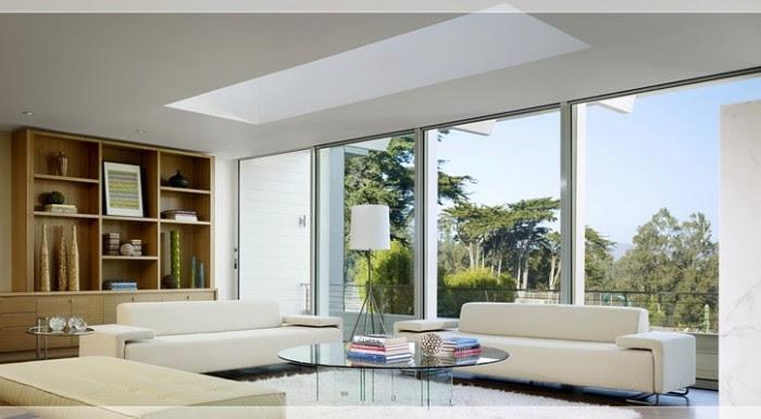 Modern living room with skylight