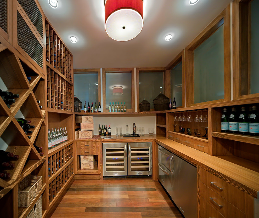 Marvelous Stemware Rack In Wine Cellar Contemporary With