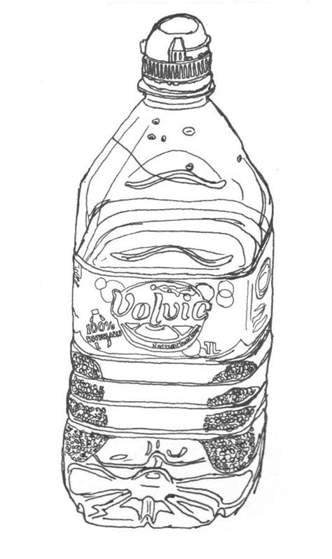 Black line draiwng of a 1 litre Volvic water bottle