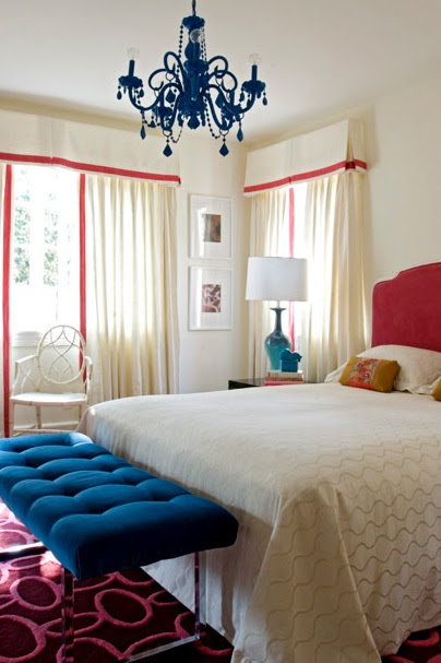 Pink and royal blue velvet bedroom!  turquoise chandelier
