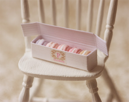 Miniature Dollhouse Food - Macarons in Box in 1/12 Scale