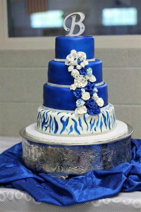 Royal blue and zebra stripe wedding cake   wedding cake