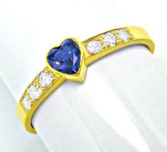 Foto 1, Neu! Brillantring Spitzen-Safir 18K/750 Gelbgold Luxus!, S8705