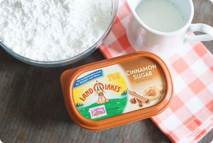 the makings of cinnamon sugar frosting for pumpkin cookies