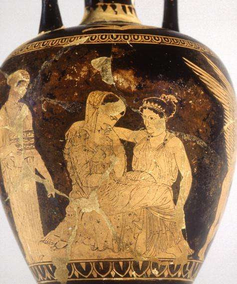 Helen and Aphrodite. Red Figure Vase, c. 430 BCE