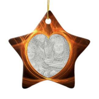 Flaming Orange Photo Heart Graduation Keepsake ornament