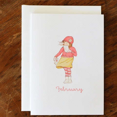 Single Card - February - Greeting or Birthday Card (Blank)