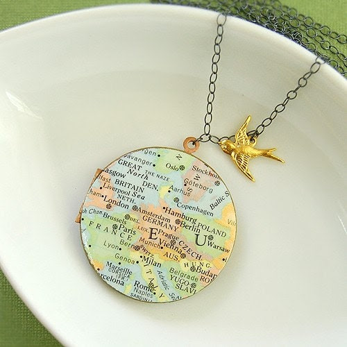 Europe Map Locket Necklace on Sterling Silver - Ready to Ship - Paris London Rome Oslo