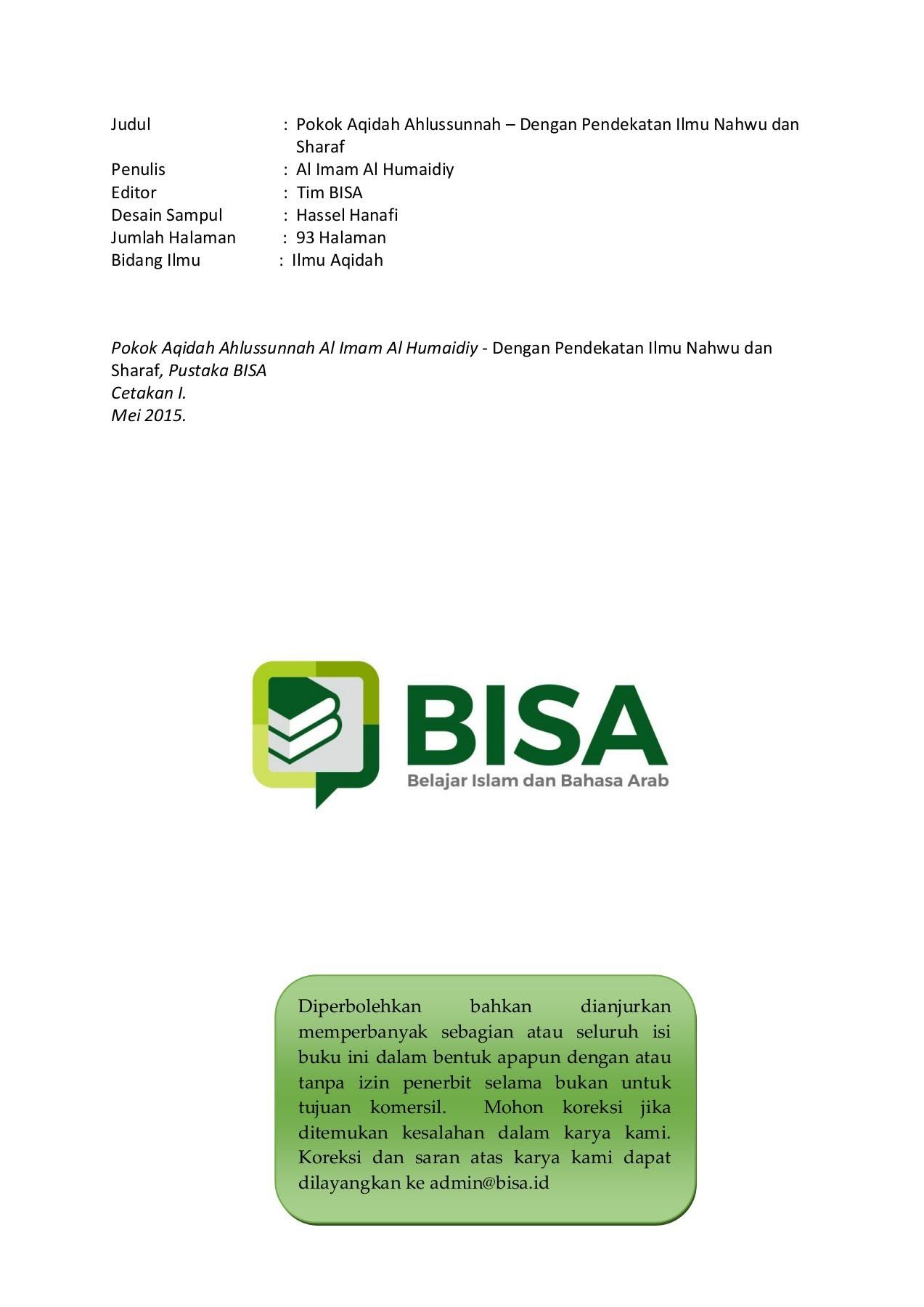 Ebook Ushulussunnah Al Humaidiy BISA Pages 1 50 Text Version
