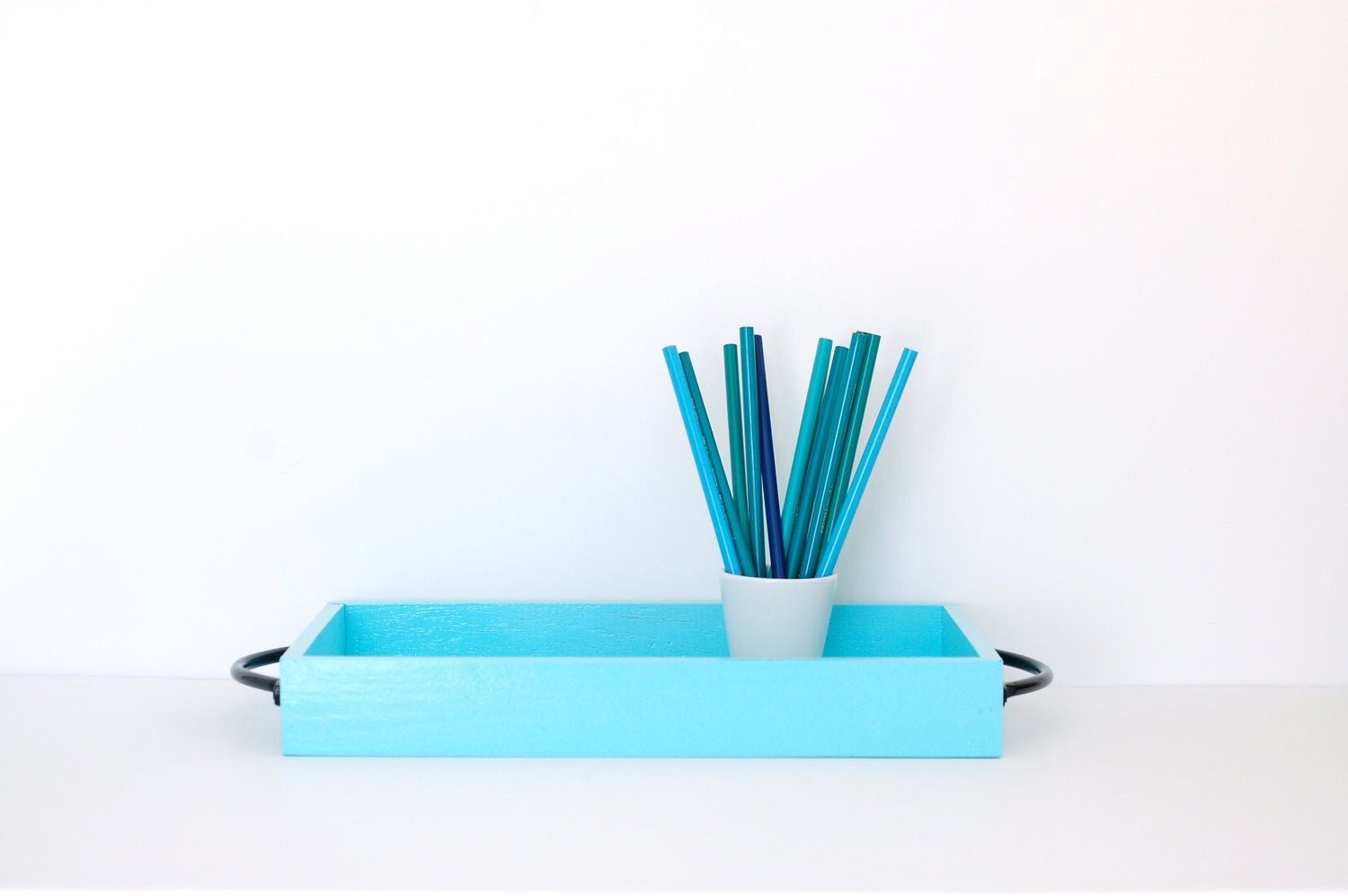 Pretty Blue Wood Tray with Black Handles - Surfaced
